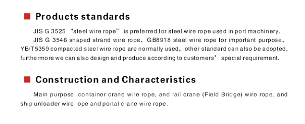 Container crane wire rope